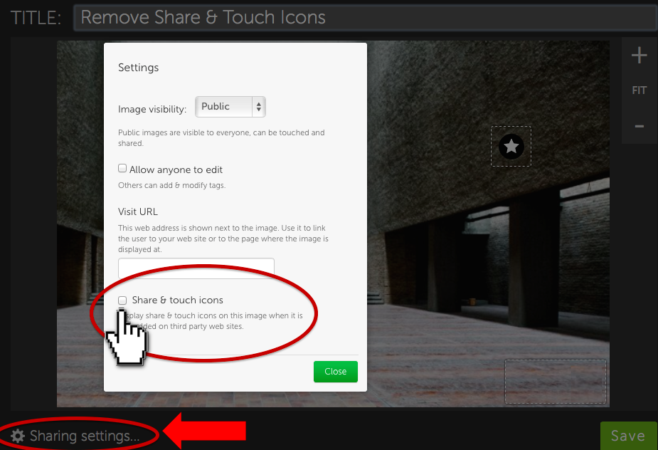 "1) Click ""Sharing Settings"" 2) Uncheck the ""Share & touch icons"" box 3) Save"