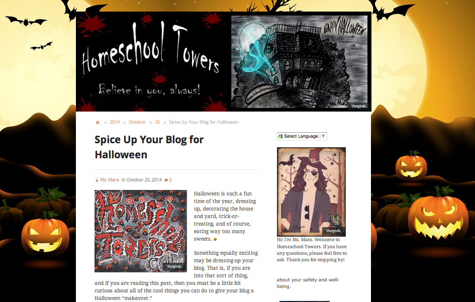 Spice Up Your Blog for Halloween, by Ms. Mara